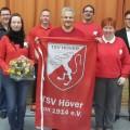 Der Vorstand des TSV Höver Hintere Reihe v.l.n.r.: Ralf Fischer, Sören Friedrich, Michael Otte, Wilhelm Grefe jun..  Vordere Reihe v.l.n.r.: Silke Spaans, Wilhelm Grefe sen., Katja Fischer.